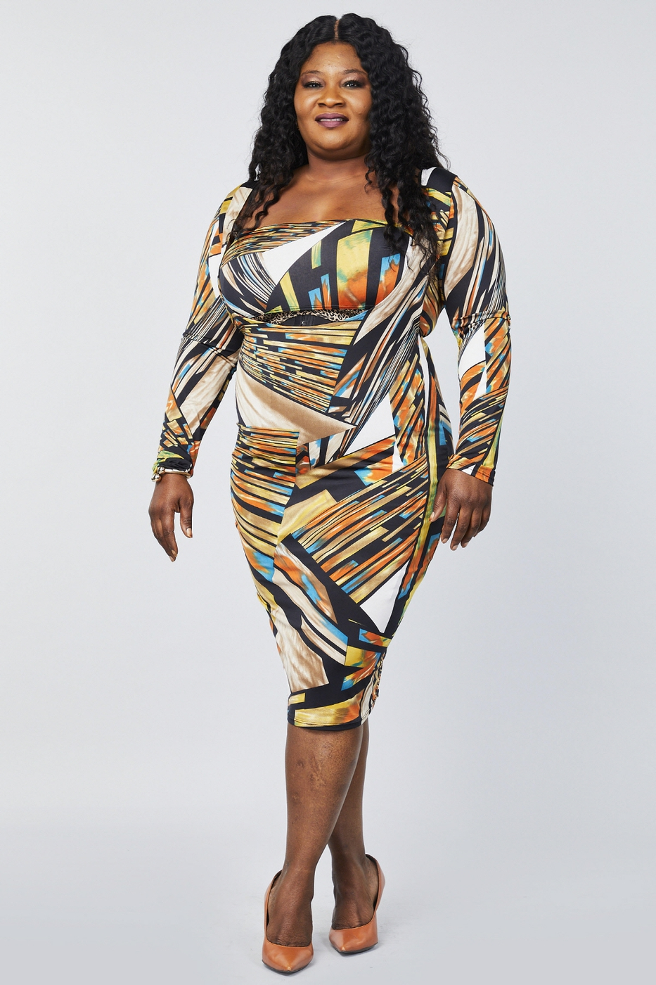 Multi-print Long Sleeve Bodycon Midi - orangeshine.com