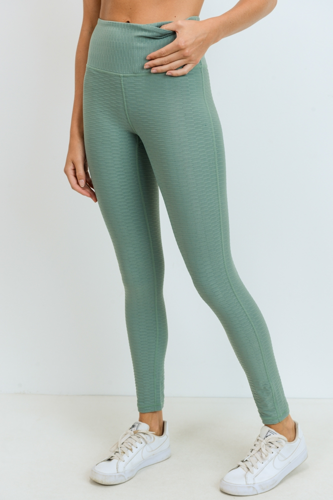 Textured Highwaist Leggings - orangeshine.com