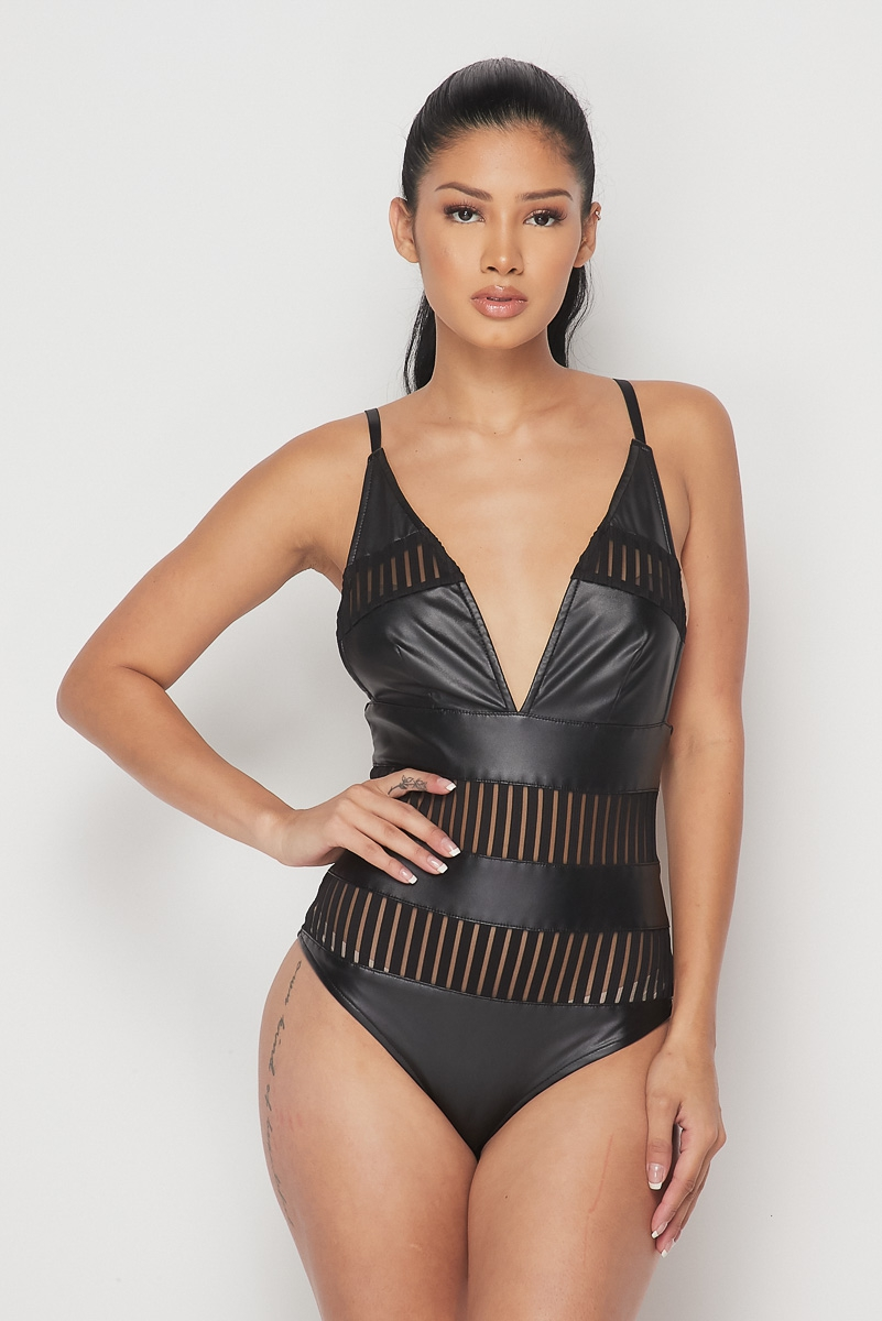Low V-Neck Mesh-Leather Bodysuit - orangeshine.com