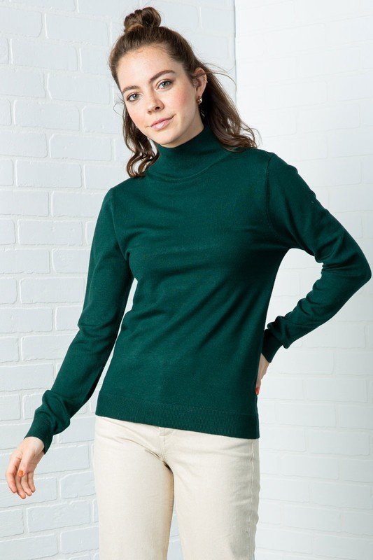 LONG SLEEVE MOCKED NECK SWEATER TOP - orangeshine.com