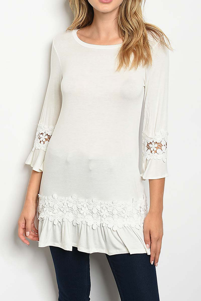 LACE TRIMMED TIERED LAYERED TUNIC  - orangeshine.com