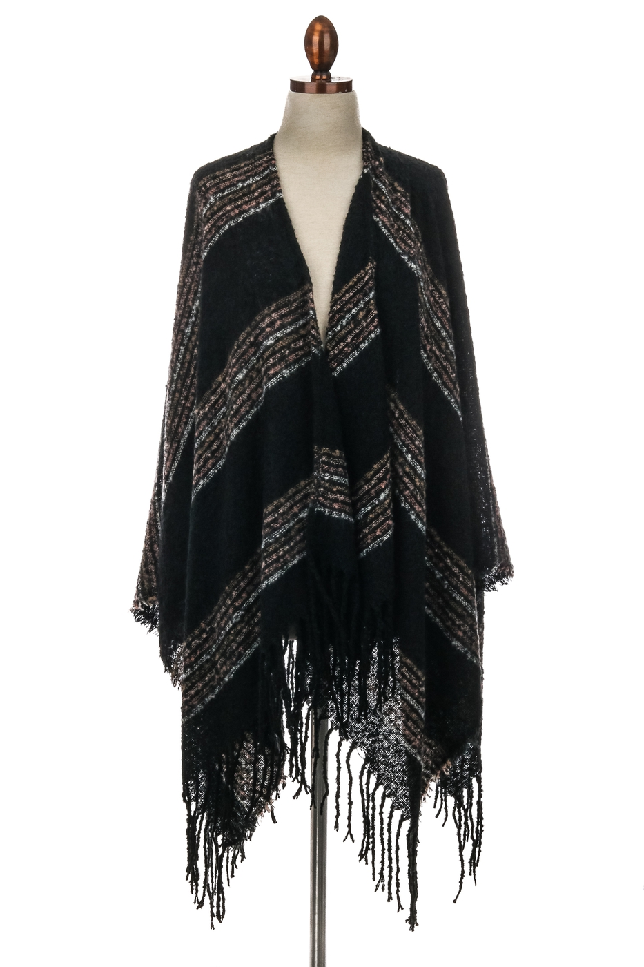 Long Fringe Striped Ruana - orangeshine.com