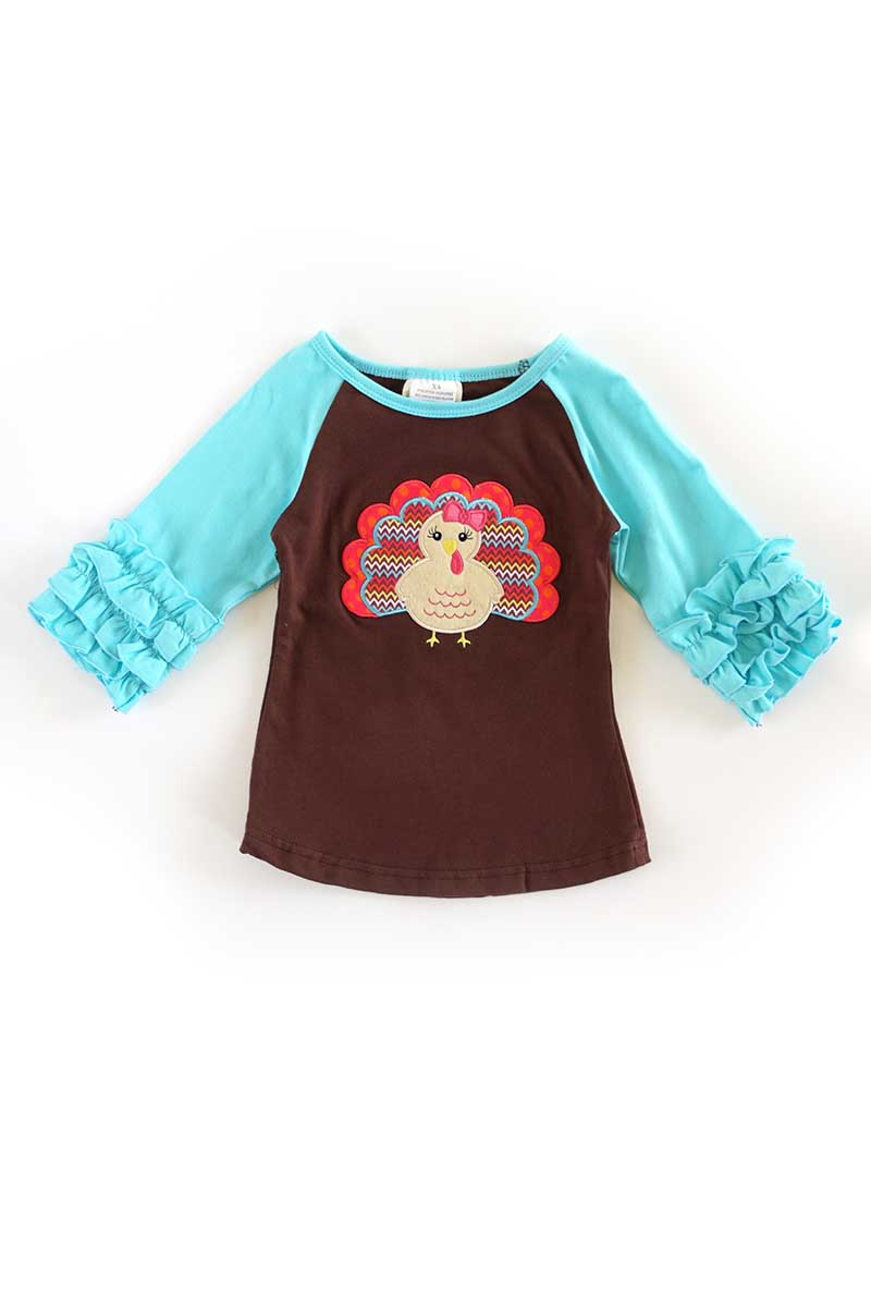 Turkey applique blue raglan shirt - orangeshine.com