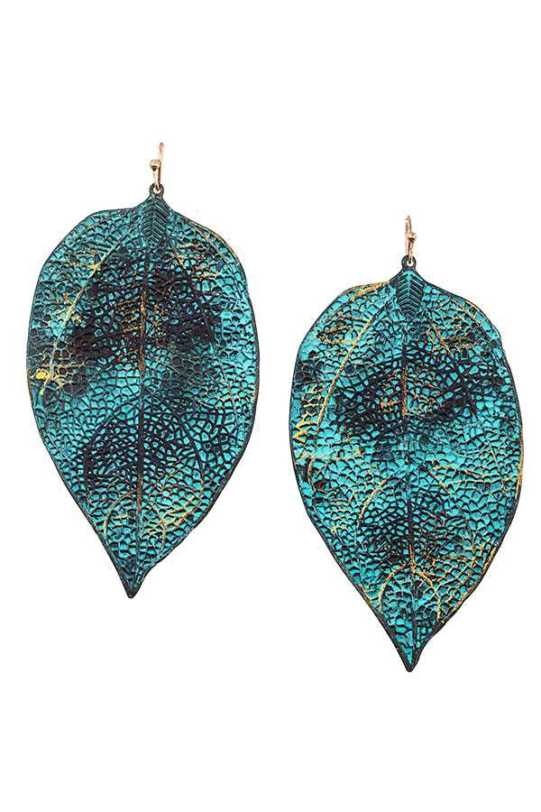 LARGE LEAF ACCENT DANGLE EARRING - orangeshine.com