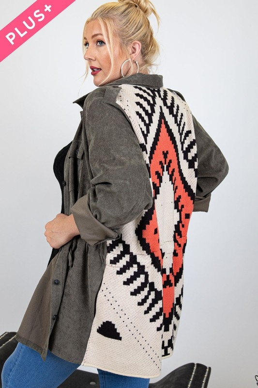 STONE WASHED CONTRAST ETHNIC JACKET - orangeshine.com