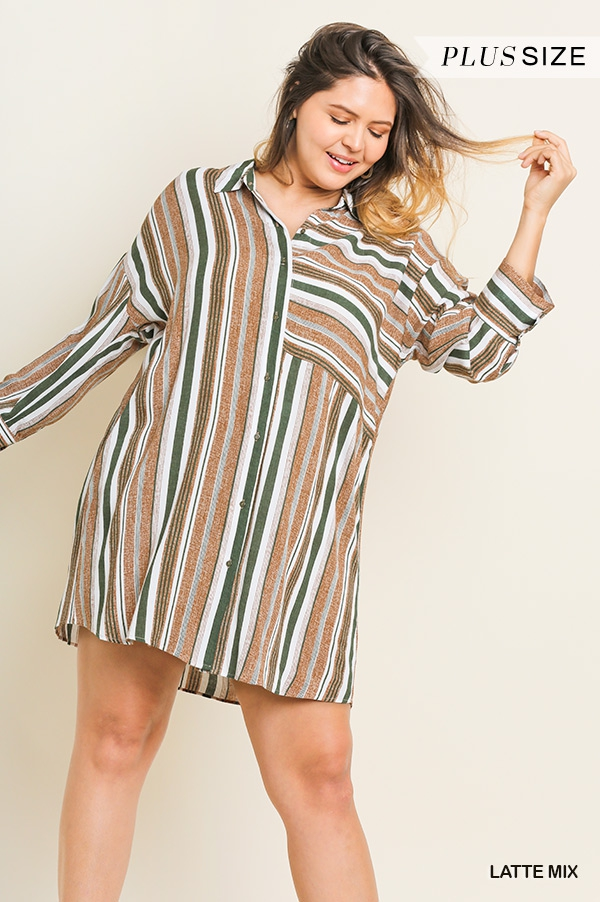 Multicolor Striped Collared Dress - orangeshine.com