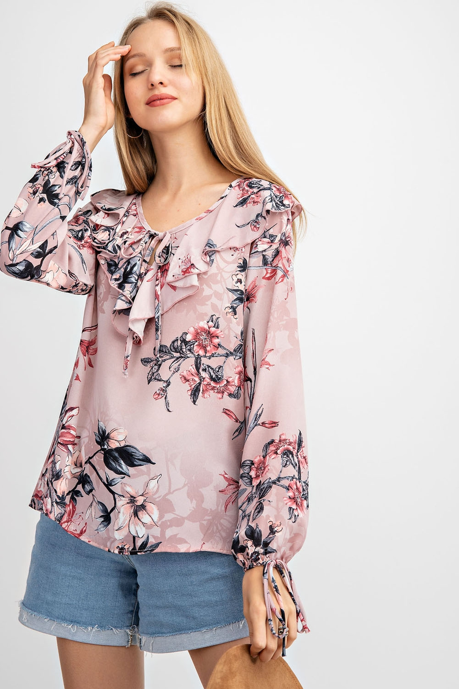 FLORAL PRINTED WOVEN TOP - orangeshine.com