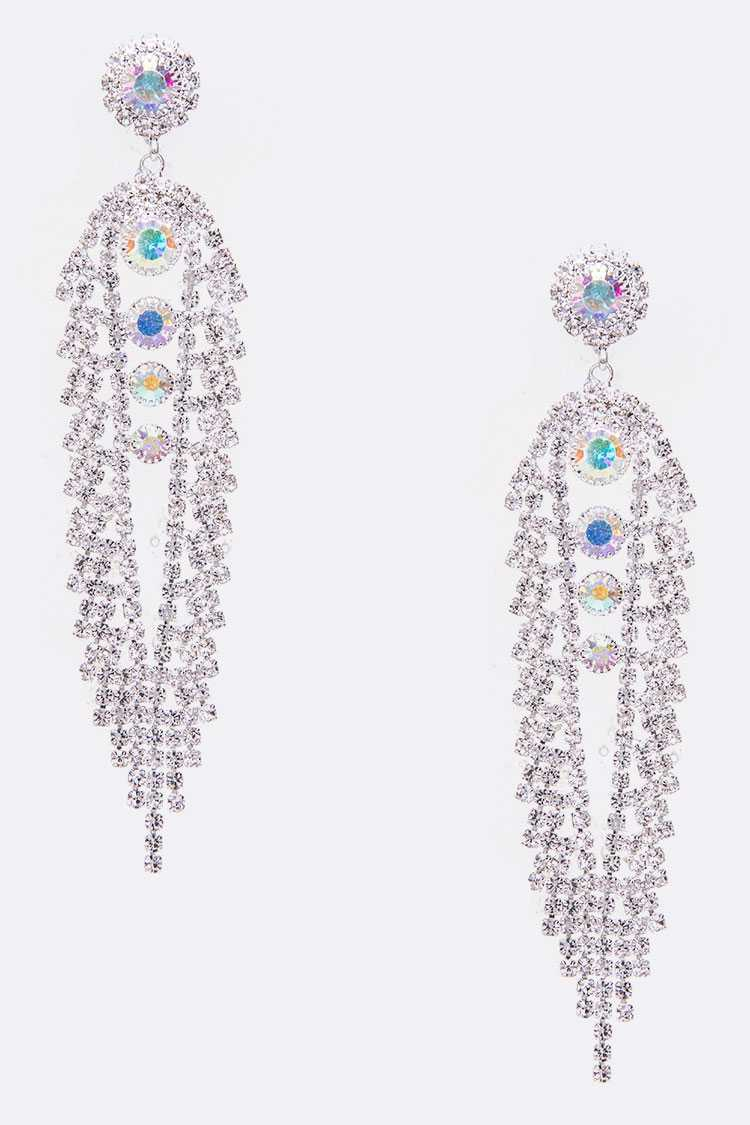 Rhinestone Statement Bridal Earrings - orangeshine.com