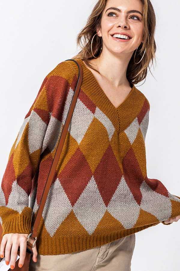ARGYLE V NECK SWEATER - orangeshine.com