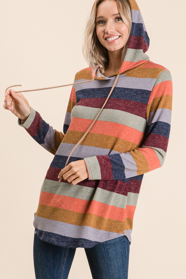 MULTI STRIPE LONG SLEEVE KNIT HOODIE - orangeshine.com