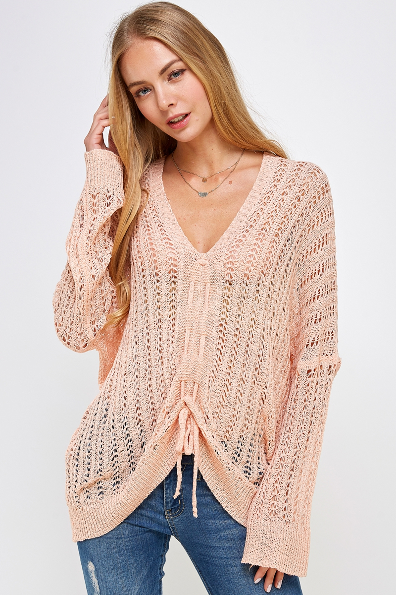 Solid Lose Thread Knit Sweater  - orangeshine.com