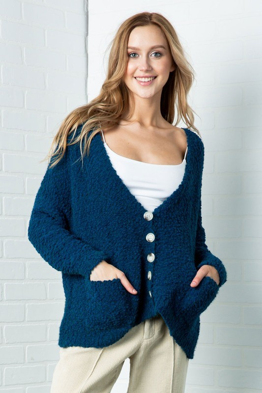 FURRY KNIT BUTTON DOWN CARDIGAN - orangeshine.com