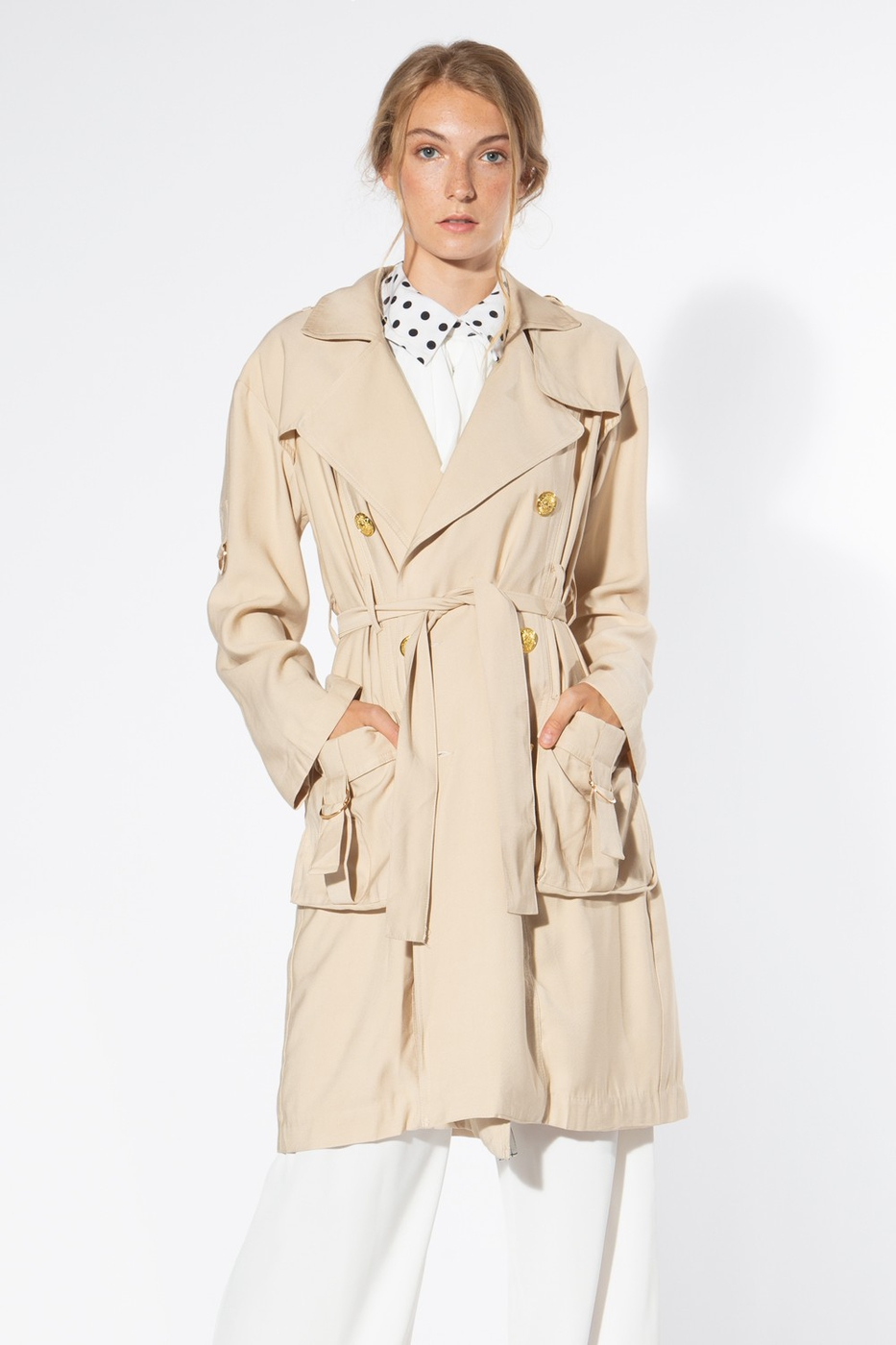 Beige Medium Weight Coat - orangeshine.com