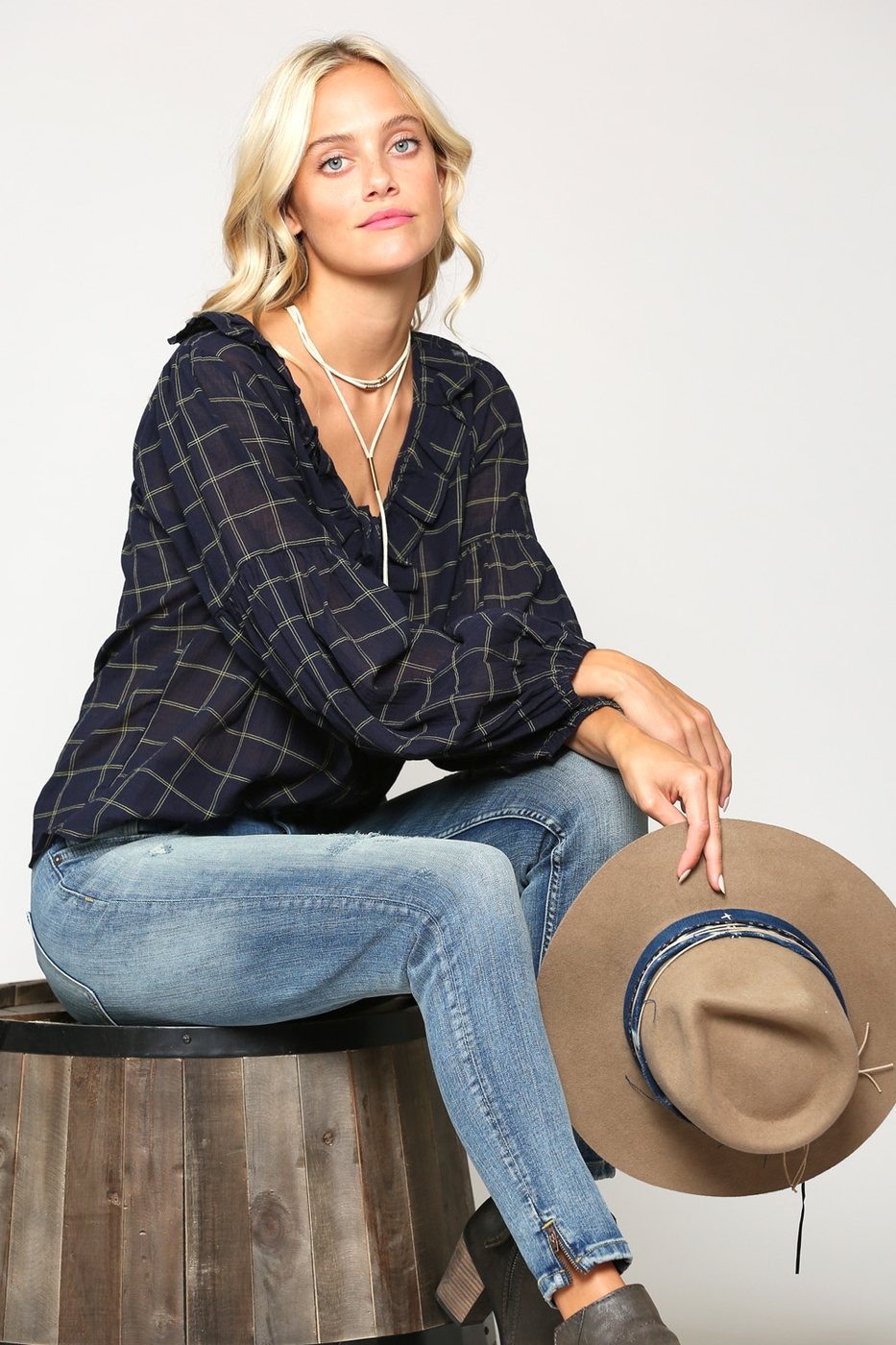 CHECKERED PEASANT BLOUSE - orangeshine.com