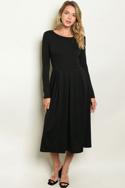 Long sleeve scoop jersey midi dress - orangeshine.com