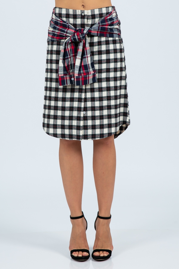 PLAID PRIN BUTTON FRONT SKIRT  - orangeshine.com