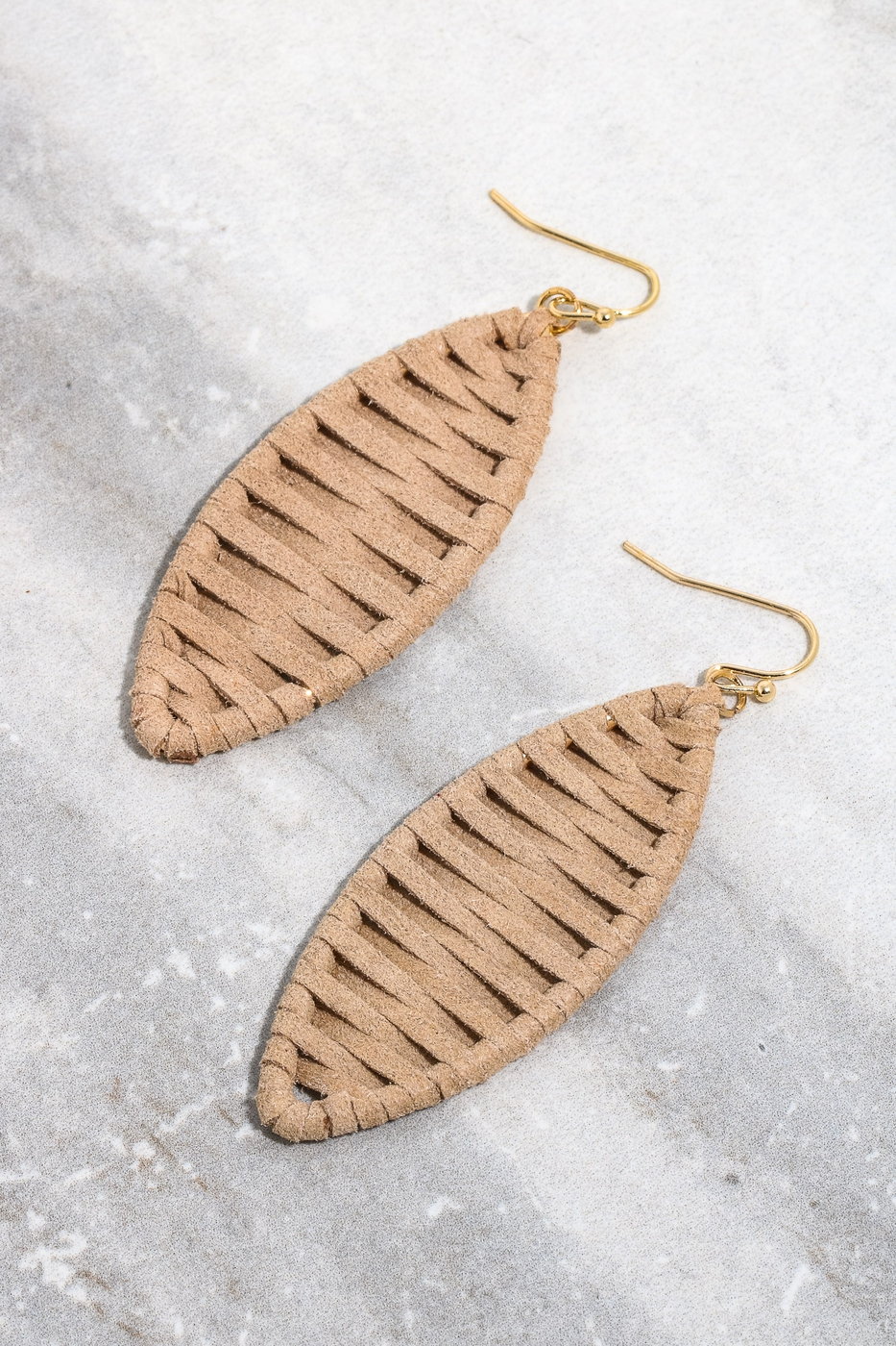 Faux Leather Weave Wrap Oval Earring - orangeshine.com