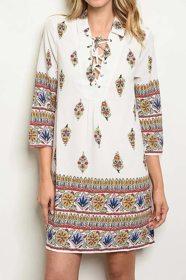 FLORAL PAISLEY BORDER PRINT DRESS - orangeshine.com
