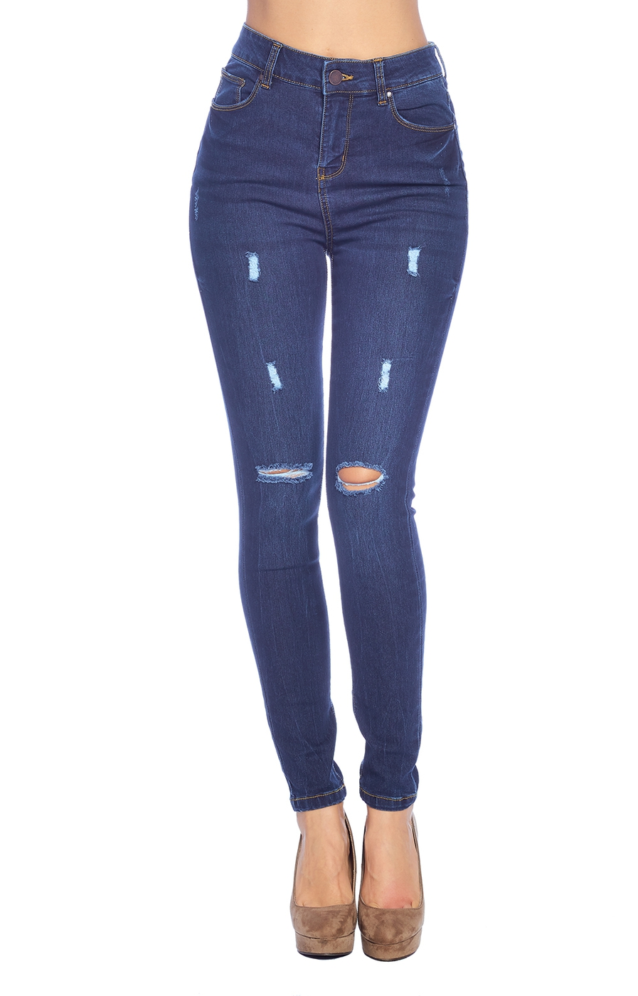 High Rise Ripped Jeans - orangeshine.com