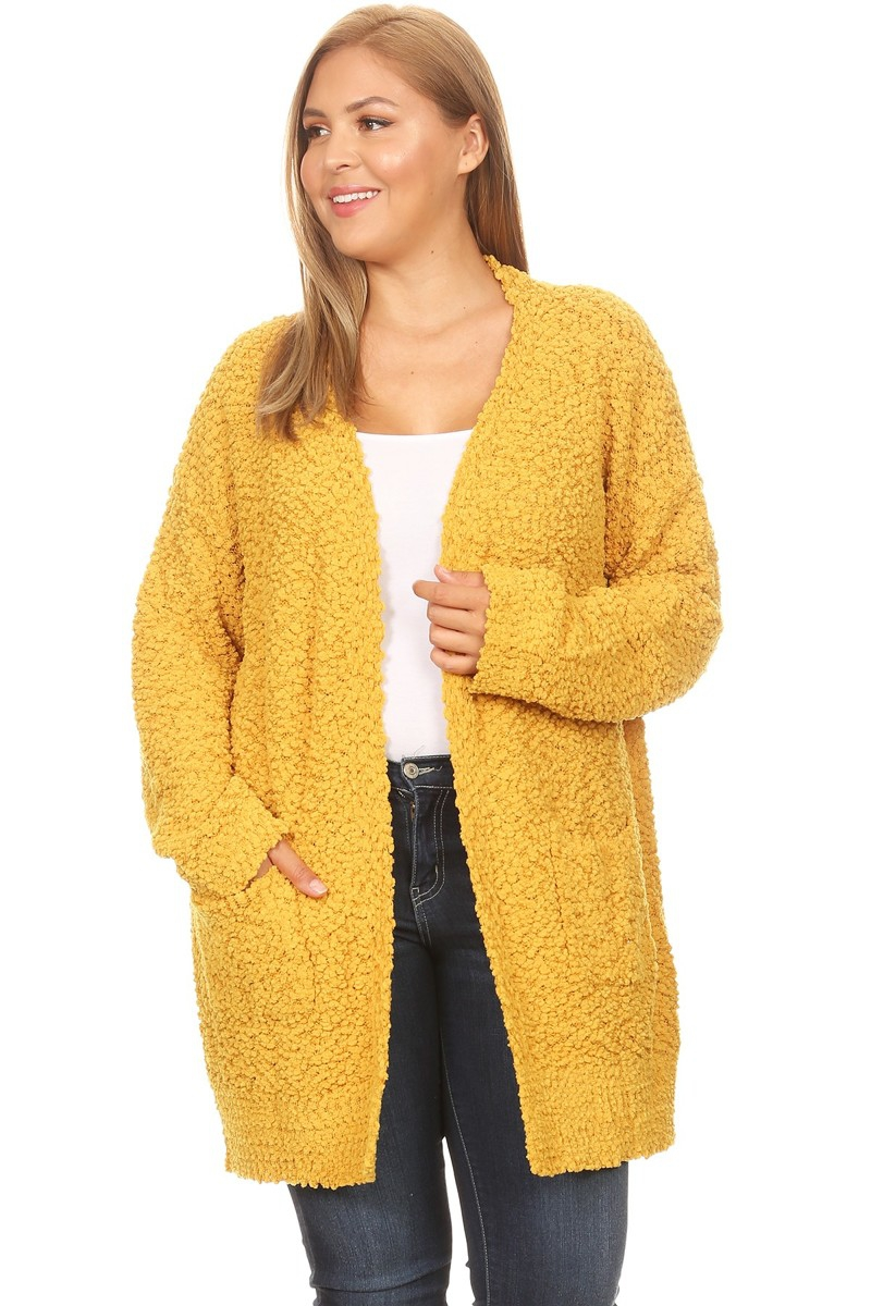 POPCORN LONG OPEN CARDIGAN - orangeshine.com