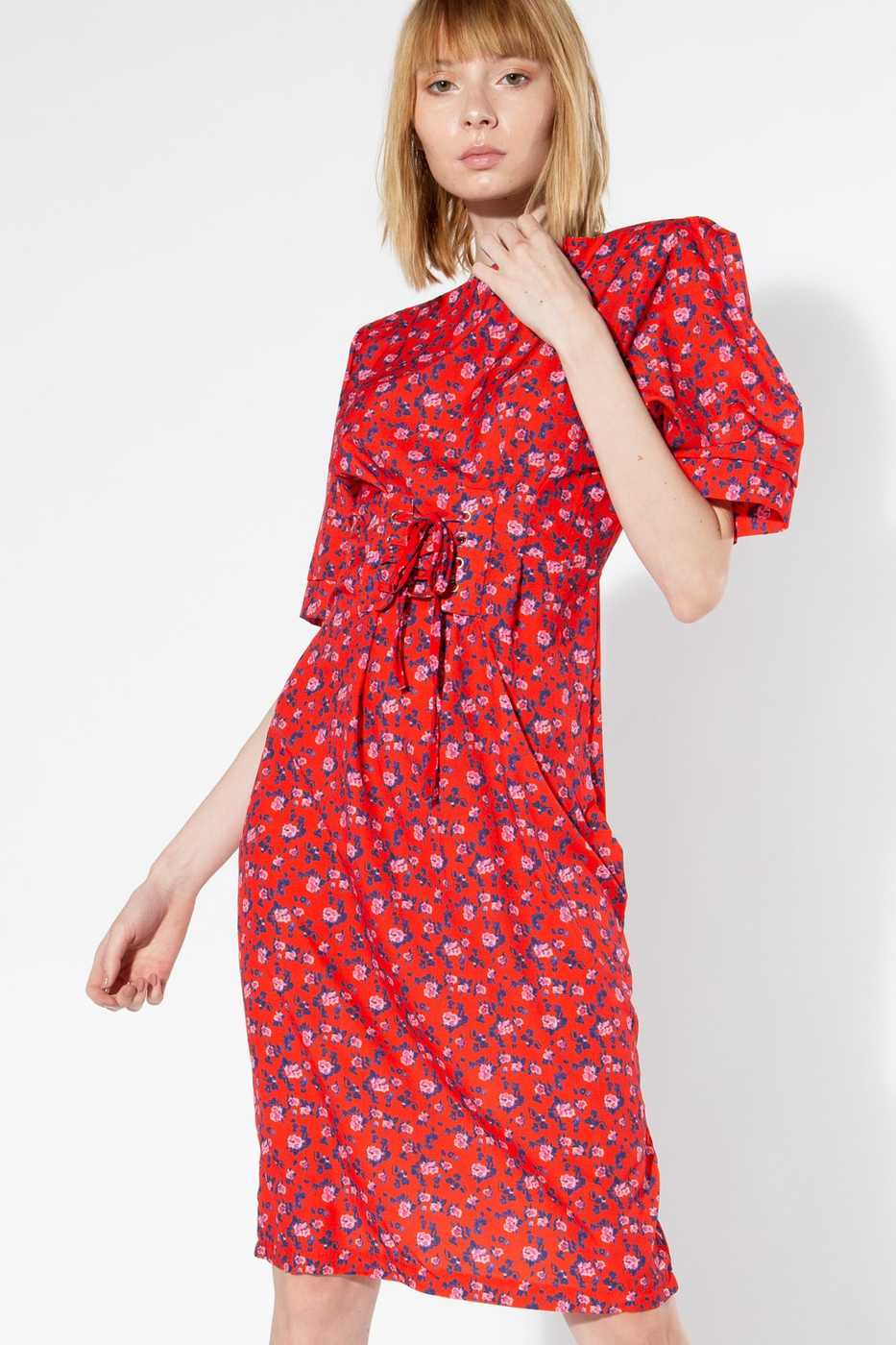 Classic Dress with Ditsy Floral Prin - orangeshine.com