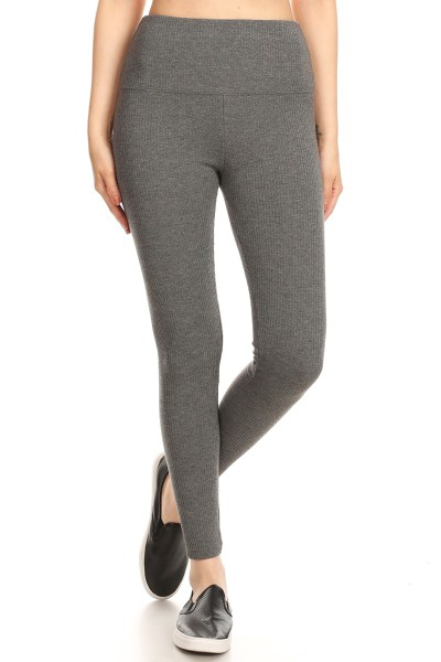 Rib Knit Thick Fit Leggings Winter - orangeshine.com