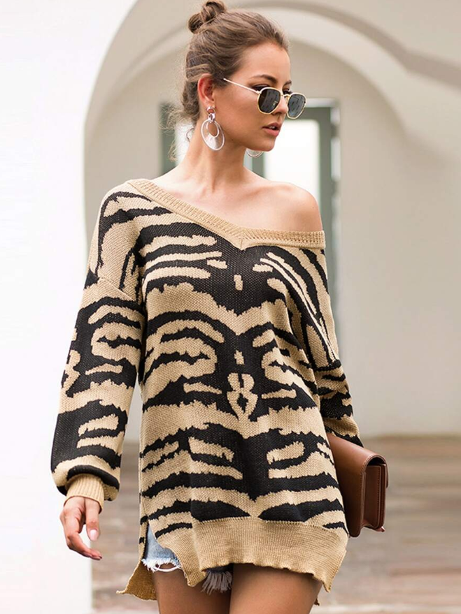 Zebra Print Sweater - orangeshine.com
