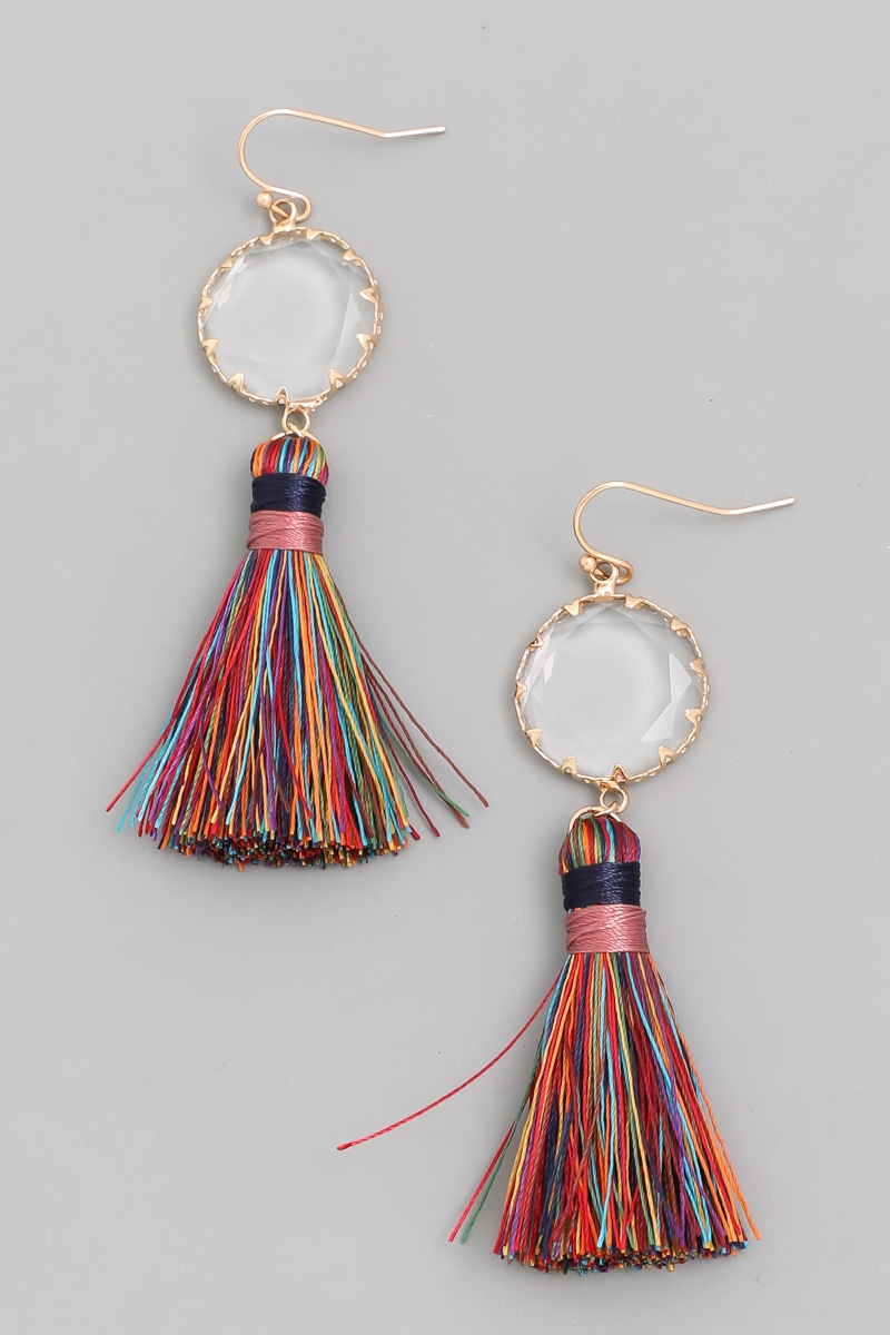Crystal Tassel Drop Earrings - orangeshine.com