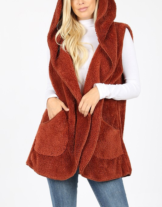 FAUX FUR COCOON HOODED VEST - orangeshine.com