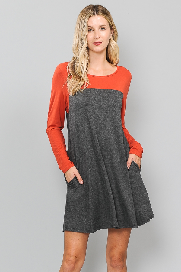 LONG SLEEVE COLOR BLOCK DRESS - orangeshine.com