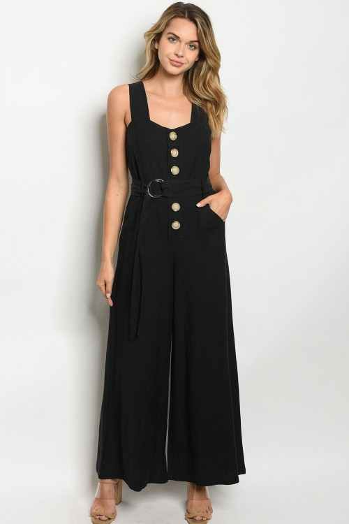 SLEEVELESS BUTTON DETAIL JUMPSUIT - orangeshine.com