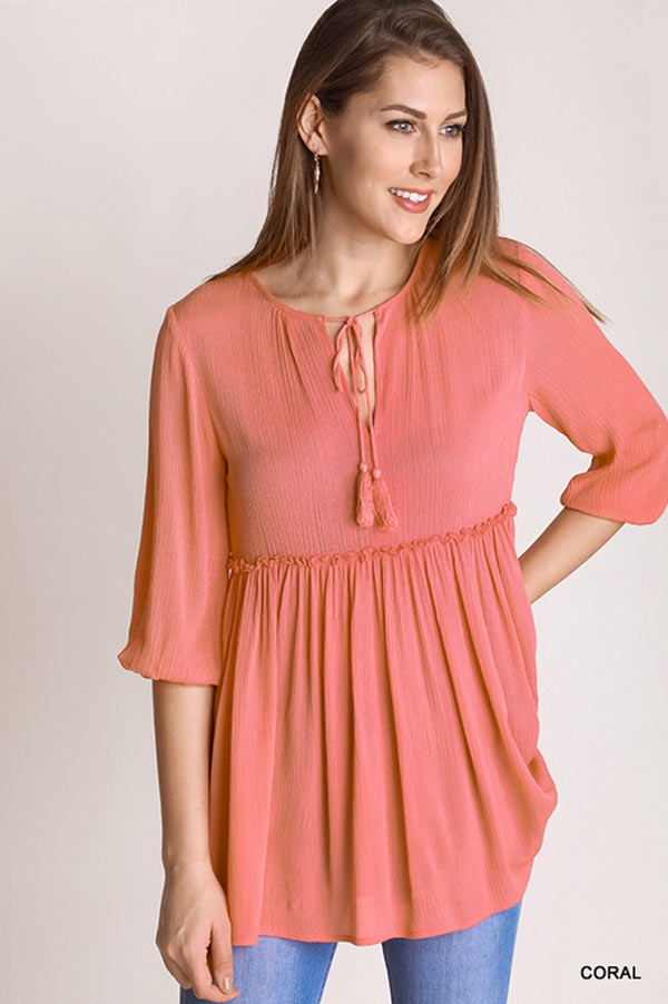 Keyhole Blouse Solid Top - orangeshine.com