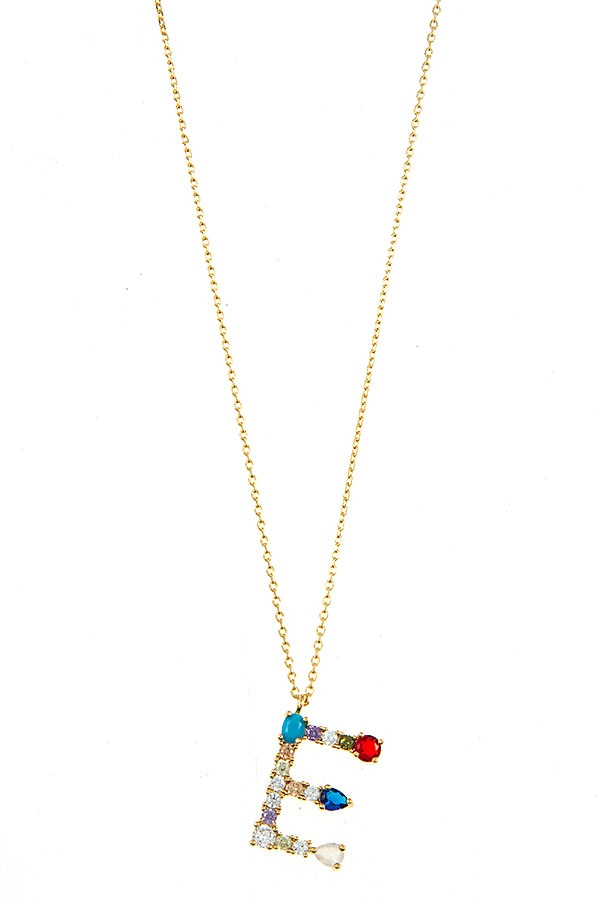MULTI GEM INITIAL PENDANT NECKLACE  - orangeshine.com