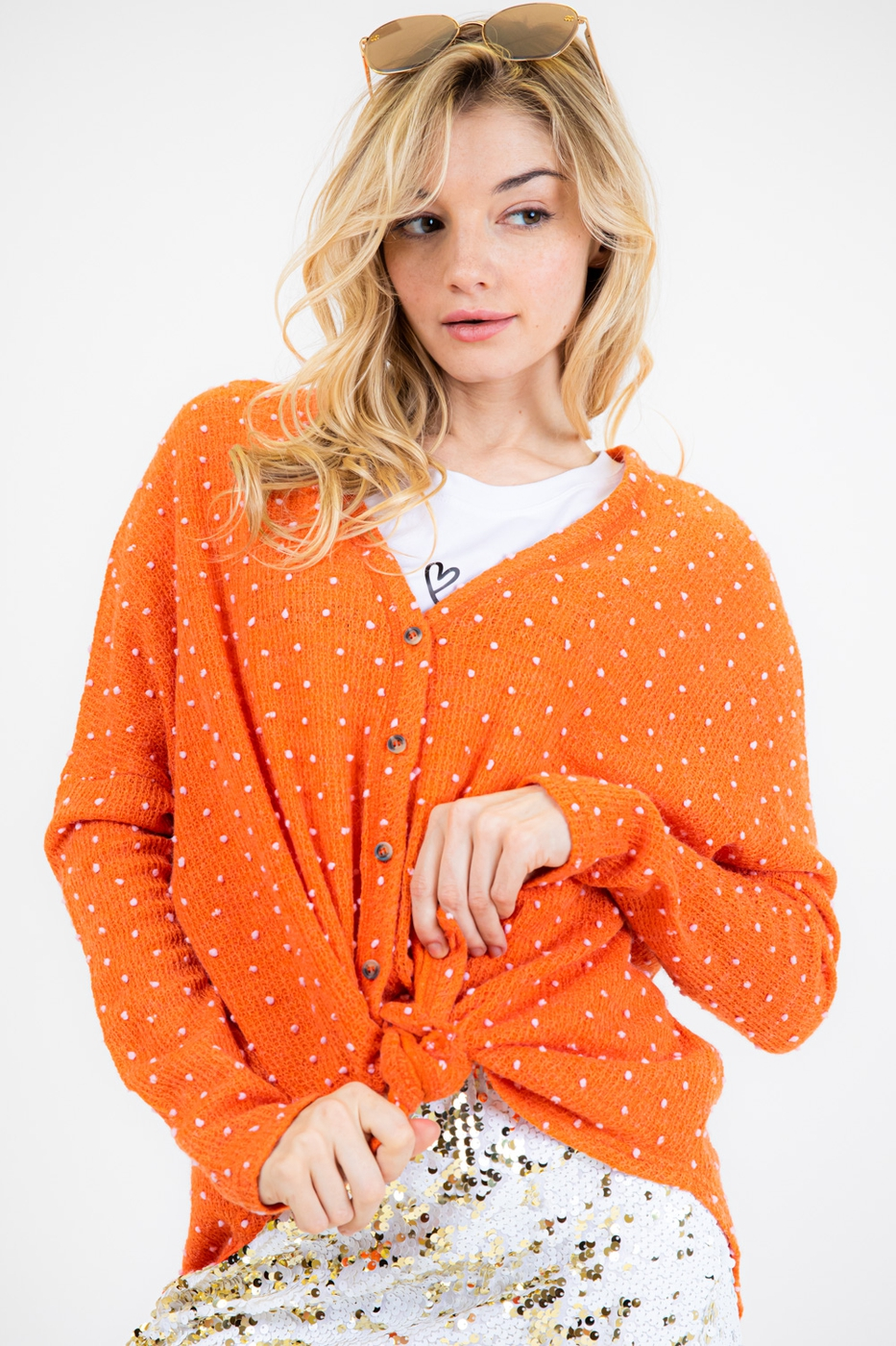 CUTE POLKA DOT OVERSIZED KNIT TOP - orangeshine.com