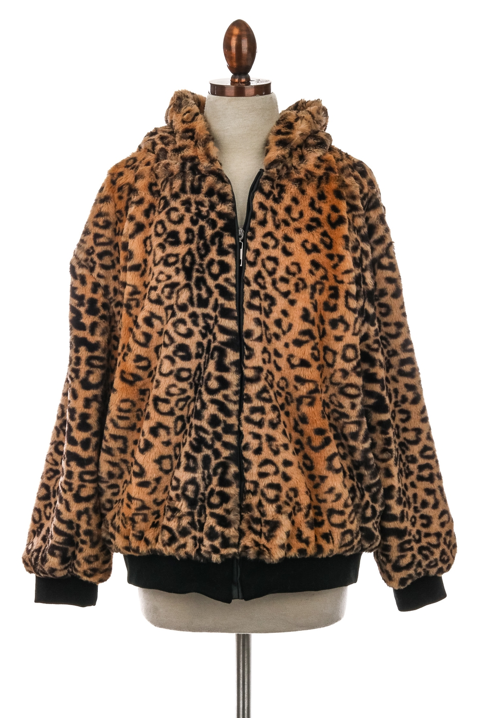 Faux Animal Fur Print Zipper Jacket - orangeshine.com