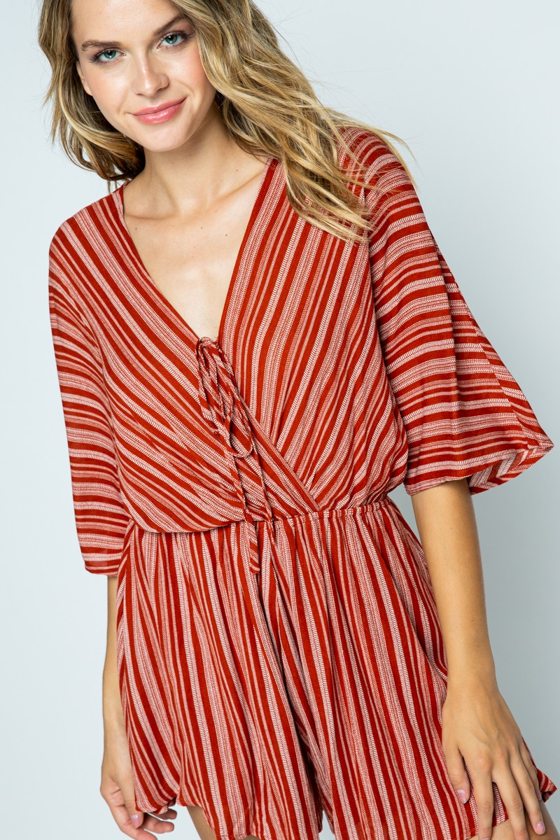 LONG SLEEVE ROMPER WITH SELF TIE - orangeshine.com