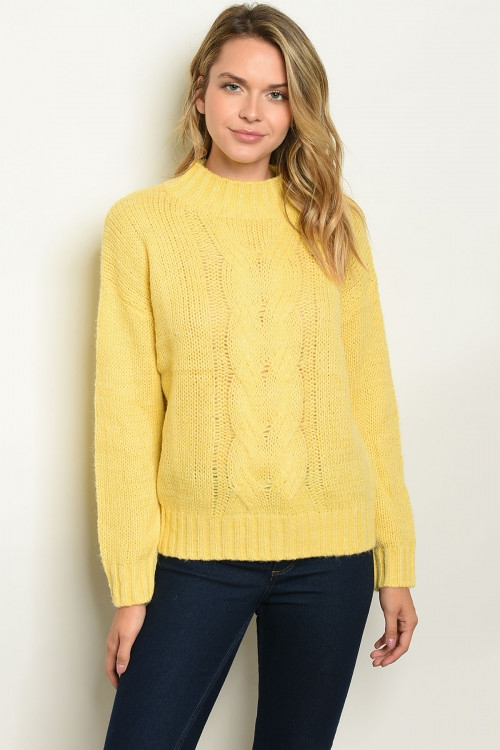 Long sleeve mock neck pullover TOP - orangeshine.com