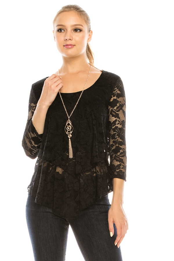 Allover Lace Double Layered Necklac - orangeshine.com