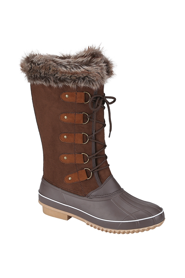 Fur Top Mid Caft Snow Boots - orangeshine.com
