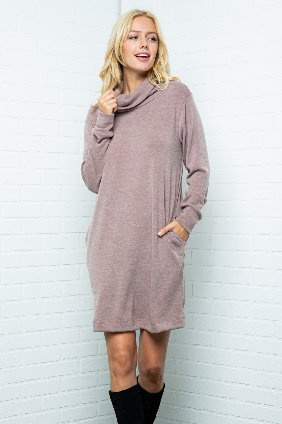 Solid turtle neck Long sleeve dress - orangeshine.com