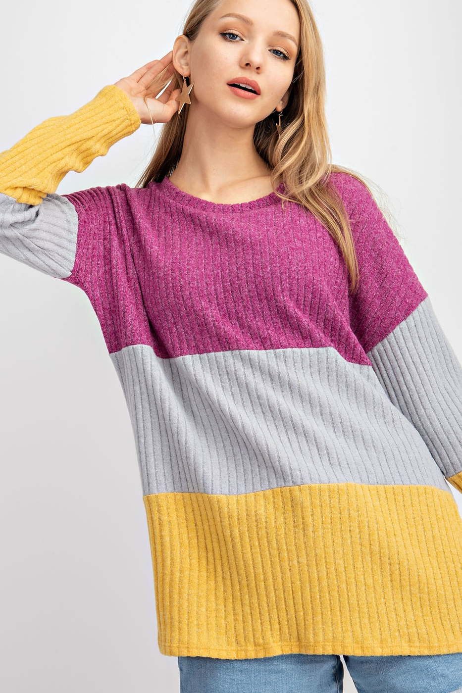 COLOR BLOCK TWO TONE BRUSHED HACCI T - orangeshine.com