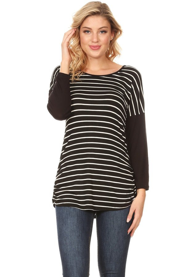 Black and White Stripe Dolman Tunic - orangeshine.com