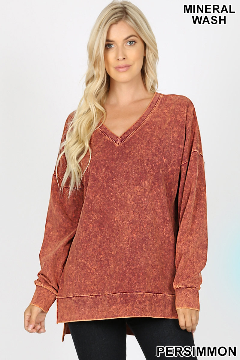 MINERAL WASH V-NECK HIGH-LOW HEM - orangeshine.com