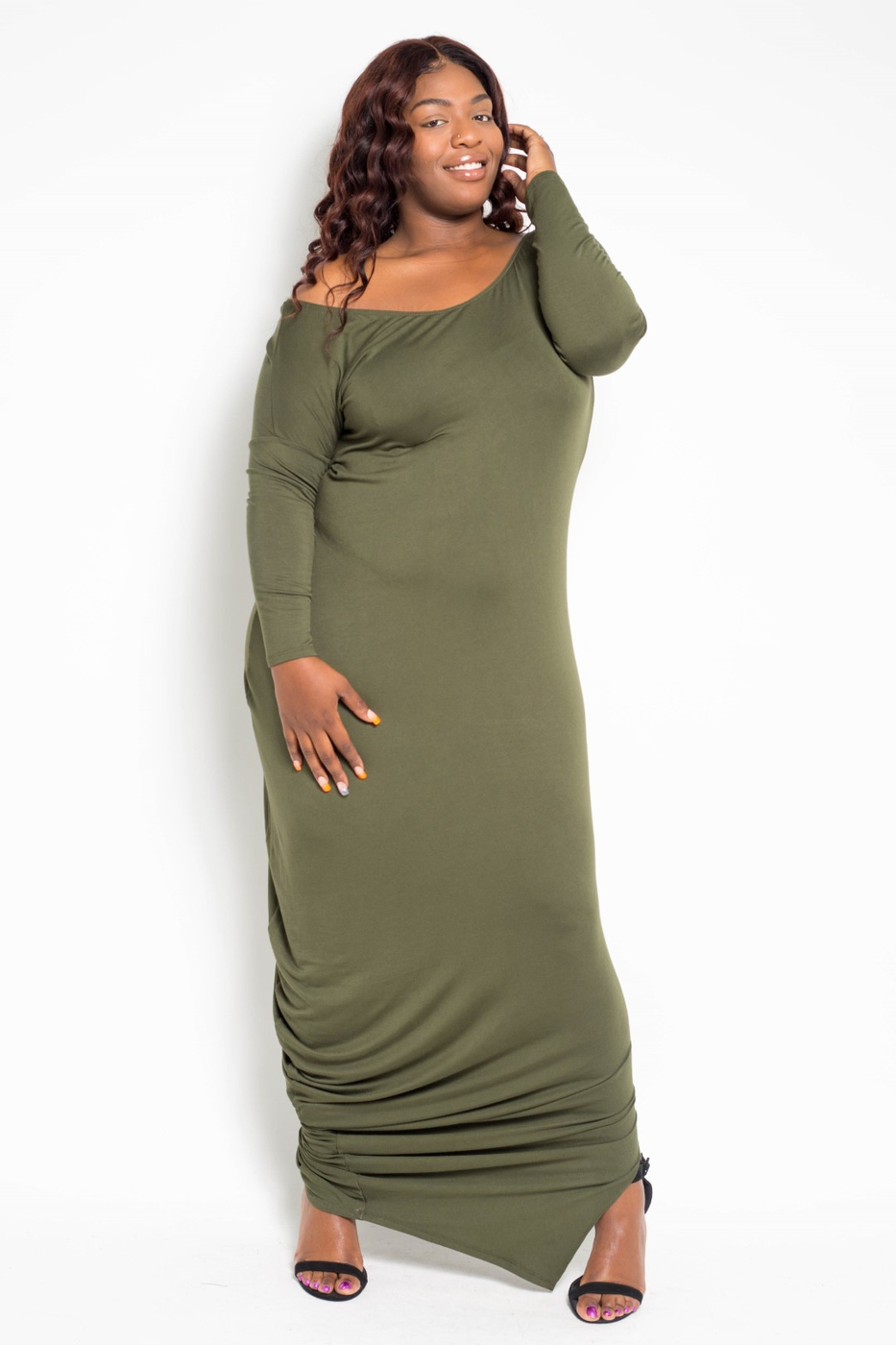 Plus Size One Shoulder Maxi Dress - orangeshine.com