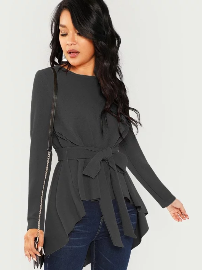 High Low Belted Blouse - orangeshine.com