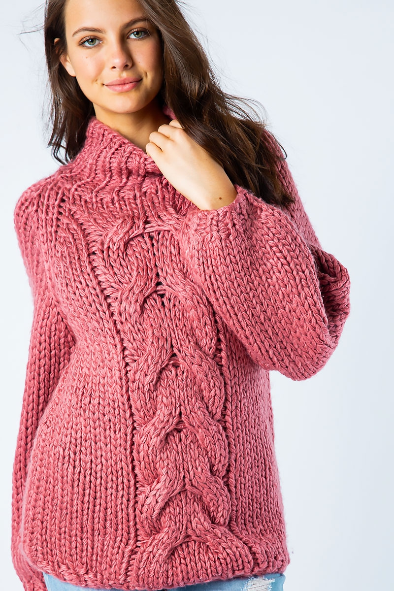 HAND MADE CHUNKY CABLE KNIT SWEATER - orangeshine.com