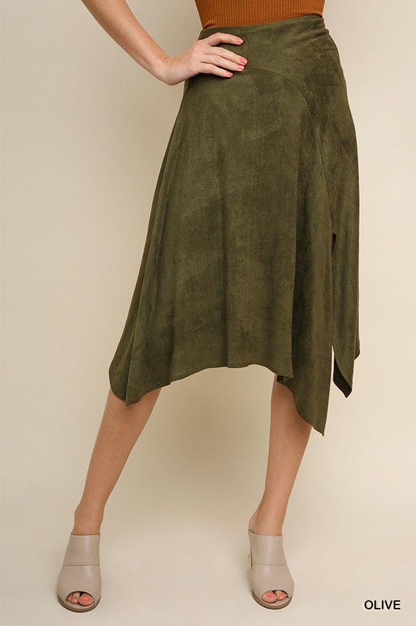 High Waist Asymmetrical Suede Skirt  - orangeshine.com