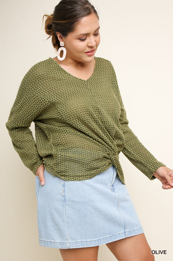 Front Knot Waffle Knit Top  - orangeshine.com
