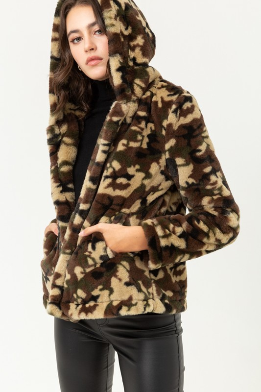 Camo Print Short Fur Jacket - orangeshine.com