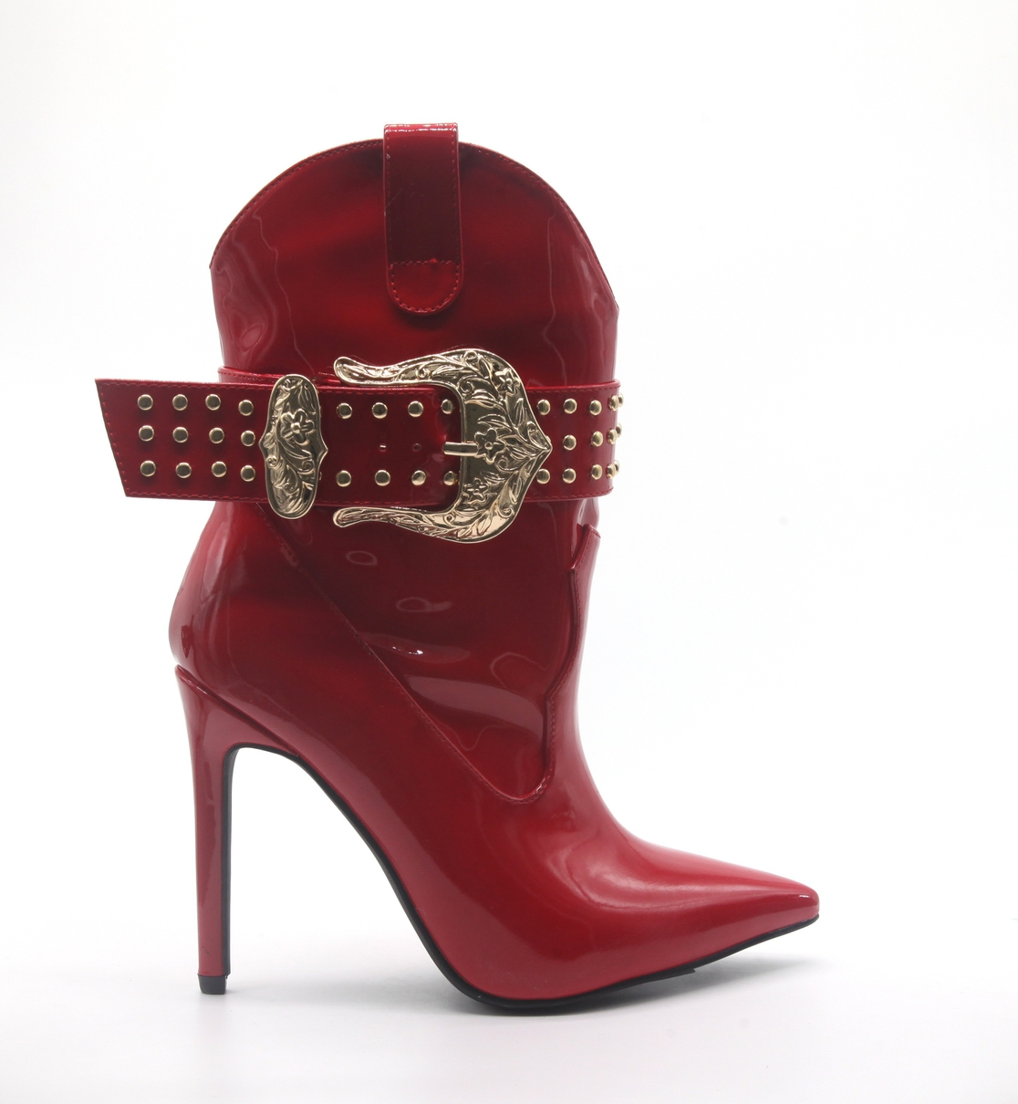 WESTERN PATENT LEATHER BUCKLE BOOTS - orangeshine.com